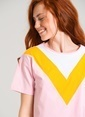 Agenda Renk Bloklu Tişört Pembe